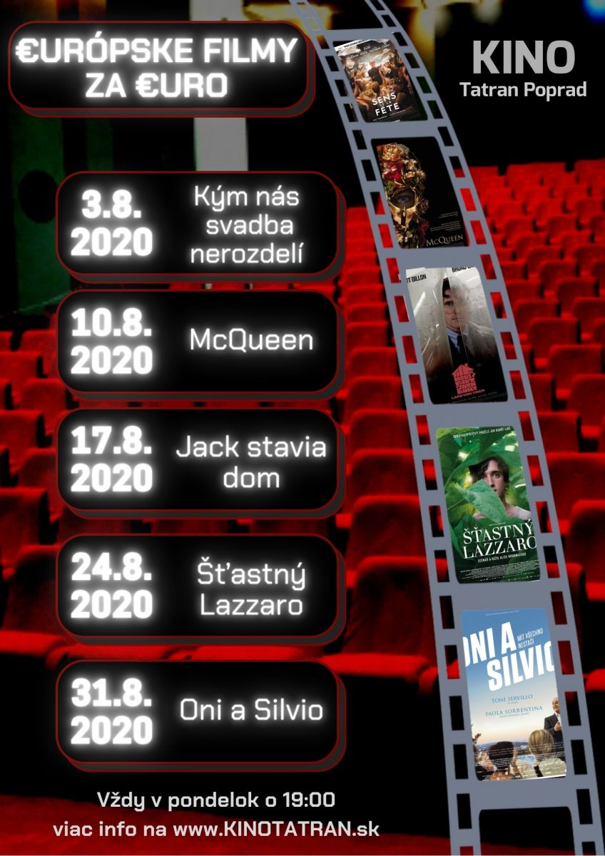 Európske filmy za euro Kino Tatran Poprad August 2020