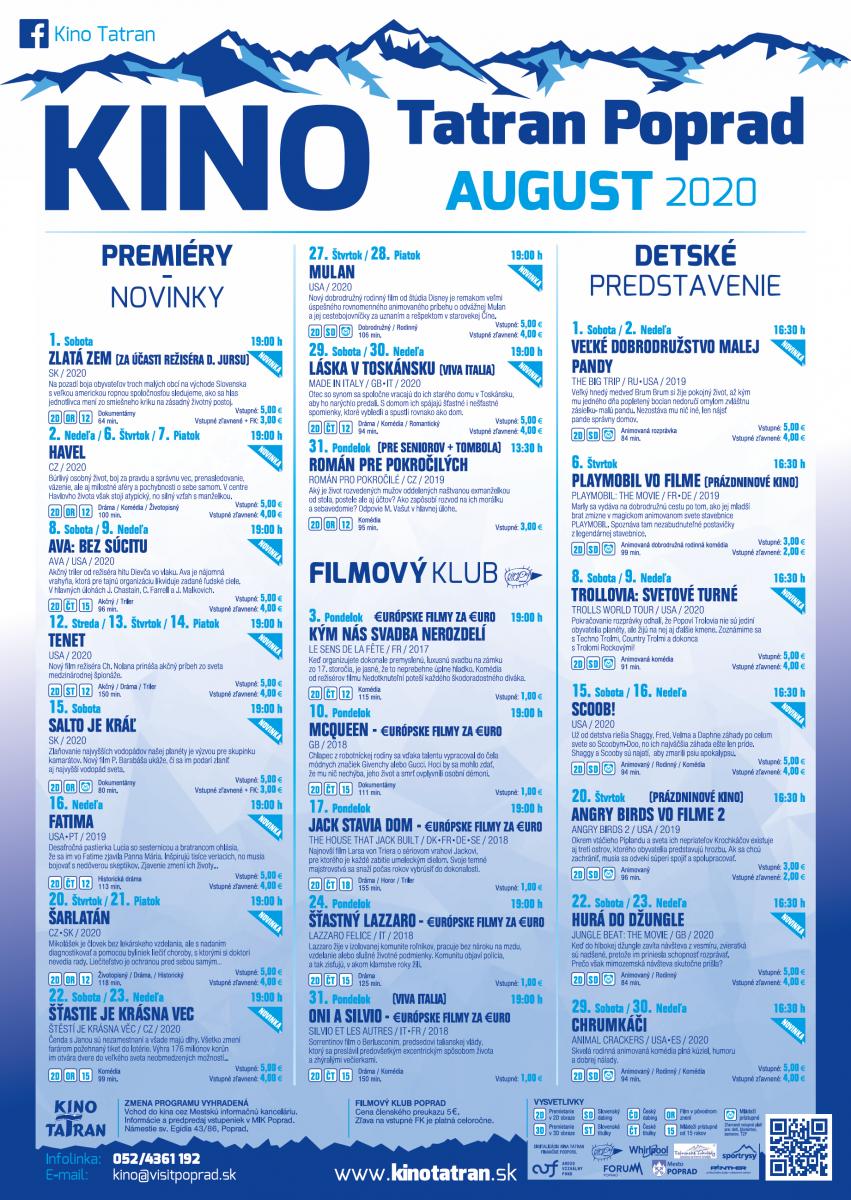Kino Tatran Poprad August 2020