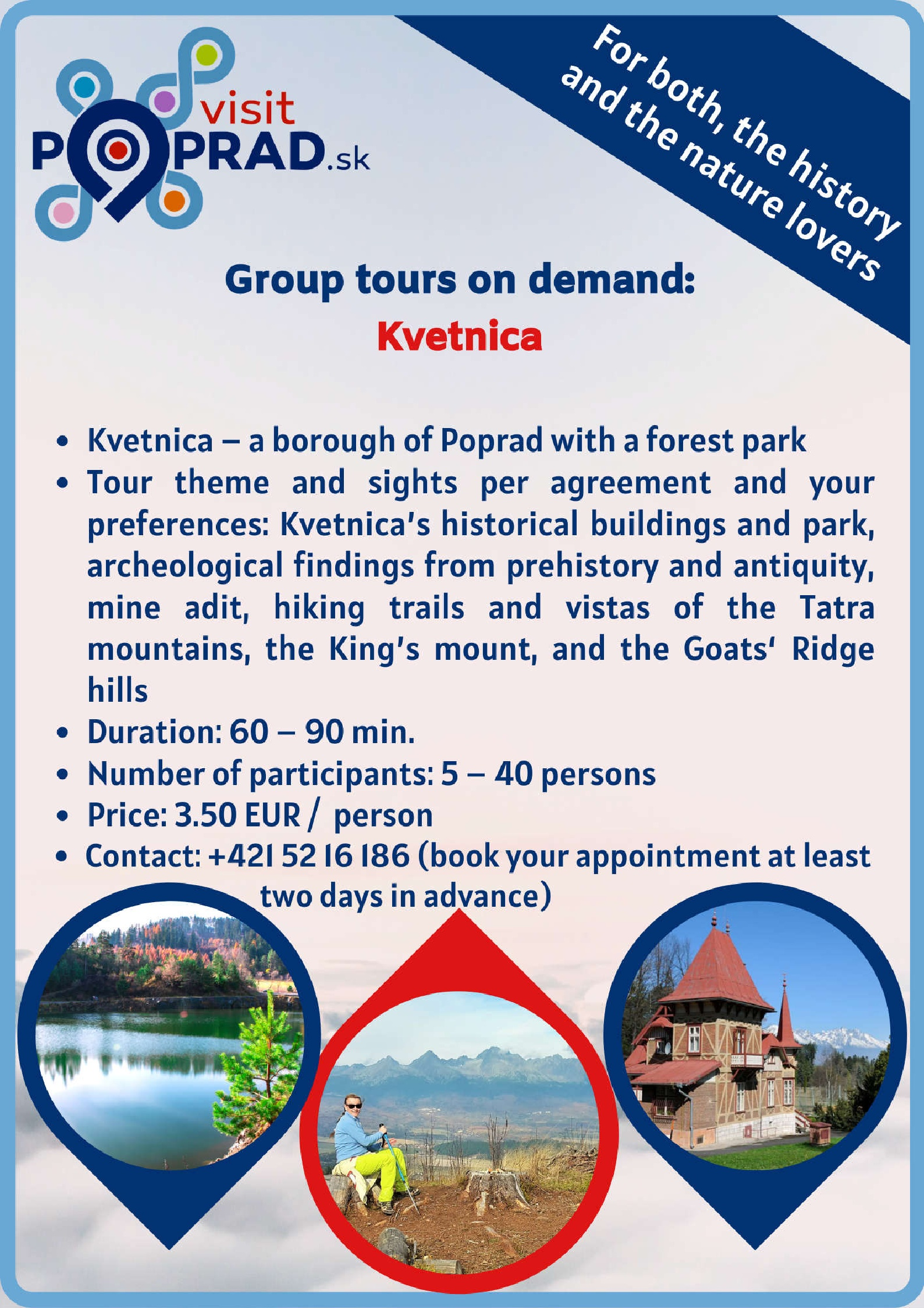 Kvetnica (Duration: 1 - 2 hours, Price: 3.50 €
