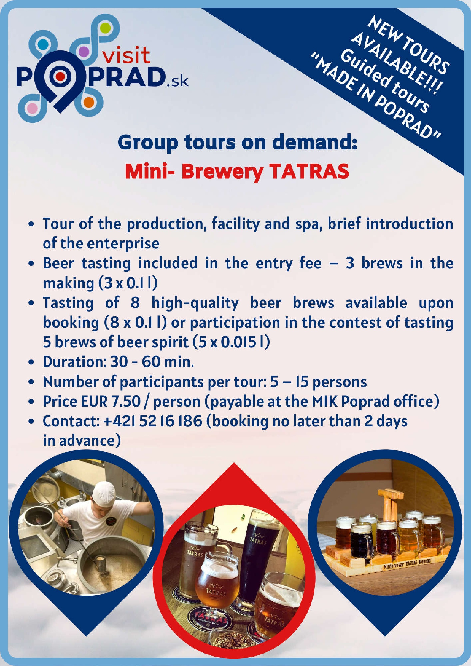 MADE IN POPRAD - Minibrewery TATRAS (Duration: 30 minutes), Price: 7.50 €