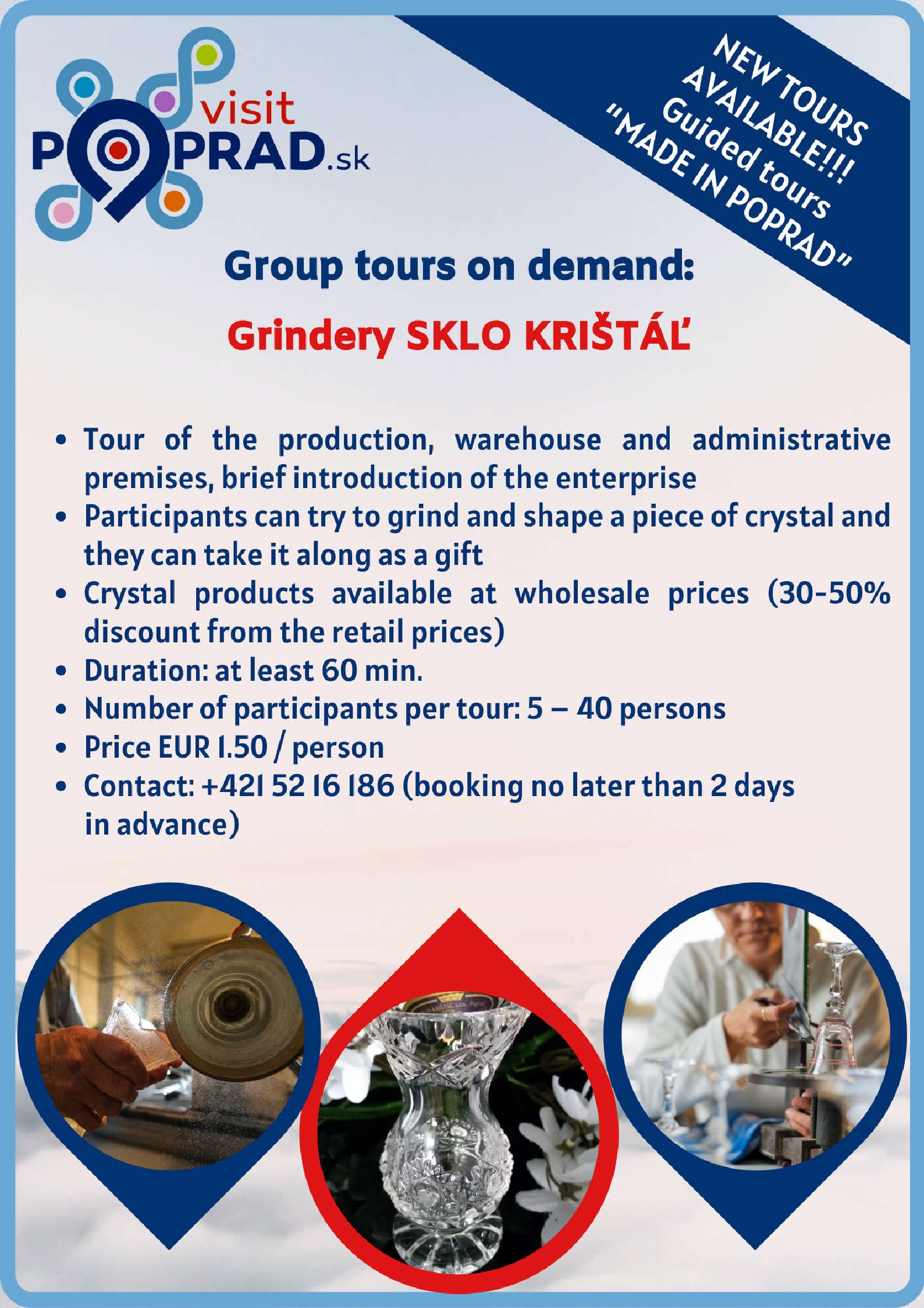 Glass-Crystal Grinding Shop (Duration: 1 hour), Price: 1.50 €