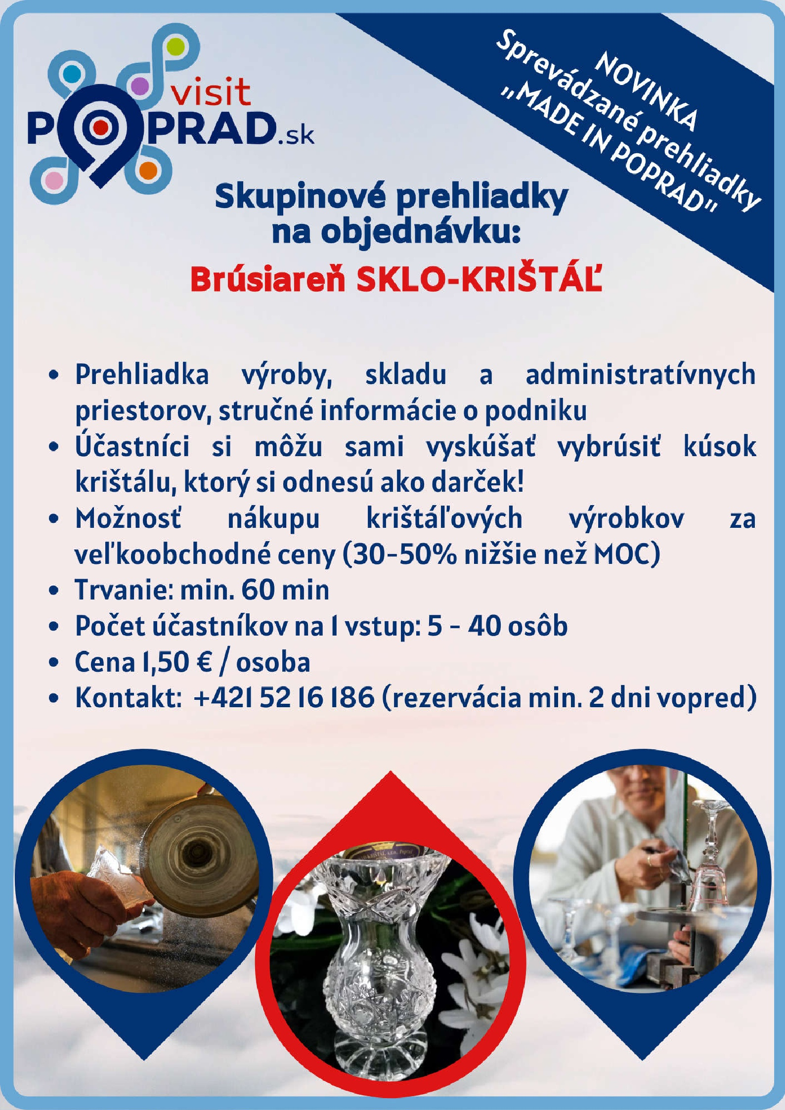 Brusiareň Sklo-krištáľ (Trvanie: 1 hodina), Cena: 1,50 €
